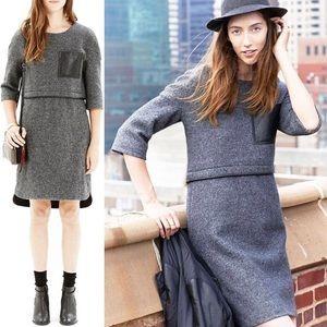 Madewell leather-pocket installation dress grey
